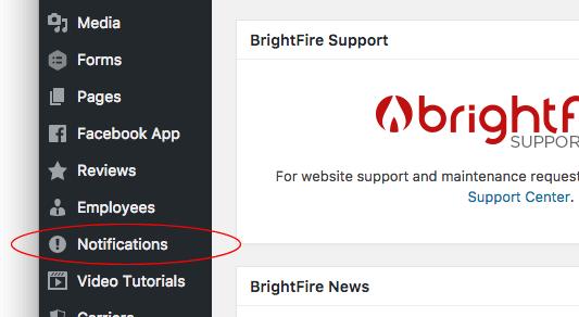 notifications admin