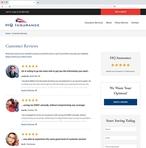 Screenshot of a website built by BrightFire showcasing reviews for an insurance agency.