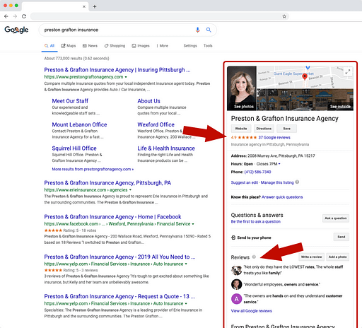 Screenshot of how reviews are displayed in Google search results