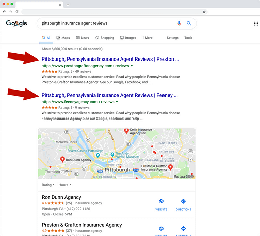 Screenshot of Google search results and how reviews can influence rankings.